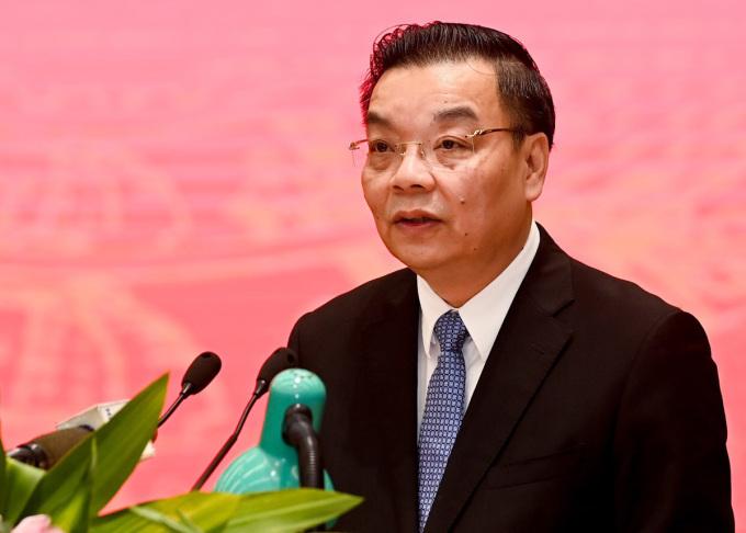 Chủ tịch UBND TP Hà Nội Chu Ngọc Anh phát biểu tại buổi làm việc của Thủ tướng với thành phố, chiều 28/3. Ảnh: Viết Thành.