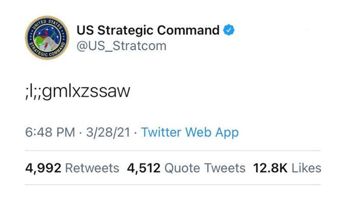 Đoạn tweet gây khó hiểu của Bộ tư lệnh Chiến lược Mỹ. Ảnh chụp màn hình