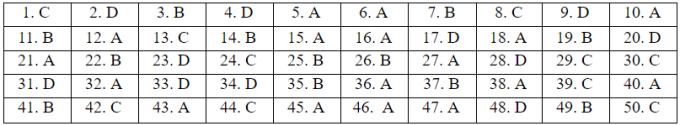 Đáp án đề tham khảo thi tốt nghiệp THPT
