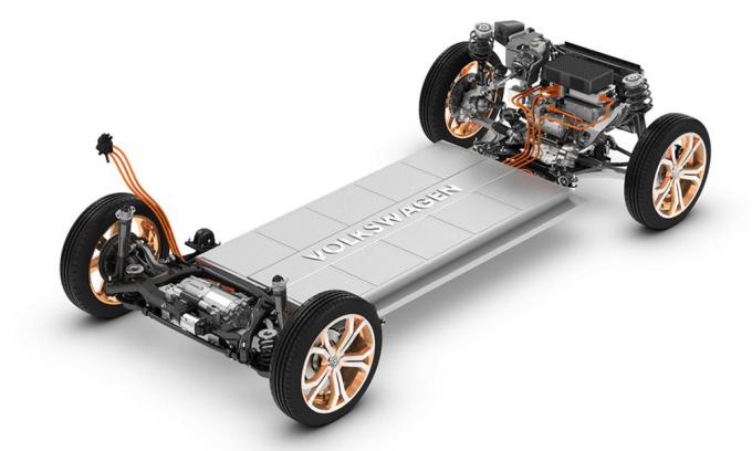 Pin trên một mẫu ôtô điện. Ảnh: Volkswagen