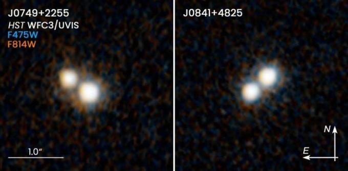 Ảnh chụp từ kính Hubble tiết lộ hai chuẩn tinh kép trong vũ trụ sơ khai. Ảnh: NASA/ESA.