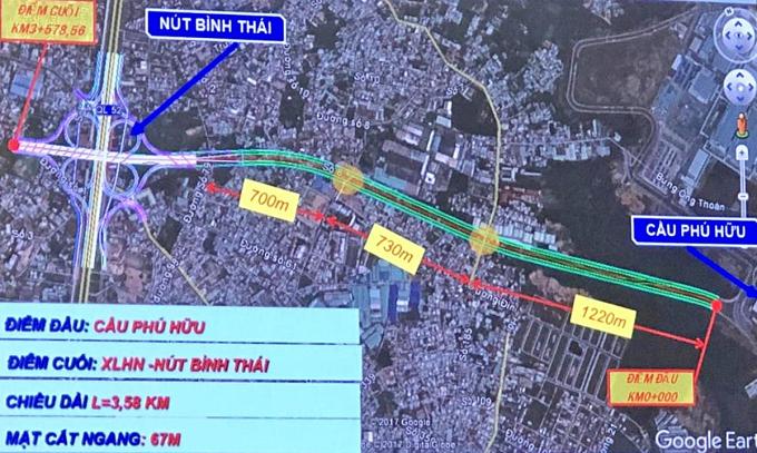 Phối cảnh đoạn 1, từ cầu Phú Hữu đến xa lộ Hà Nội thuộc Vành đai 2. Ảnh: Ban quản lý dự án đầu tư xây dựng các công trình giao thông TP HCM.