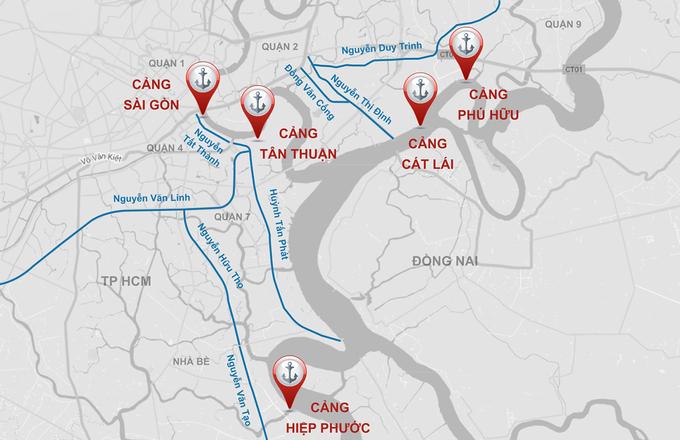 Tuyến đường gần các cảng sẽ được đầu tư xây dựng giảm ùn tắc. Đồ họa:Thanh Huyền.