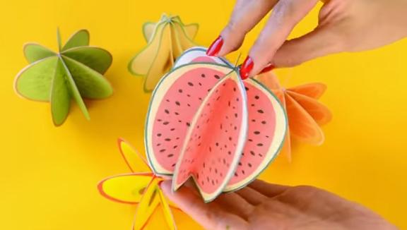 Làm hoa quả 3D từ giấy thủ công