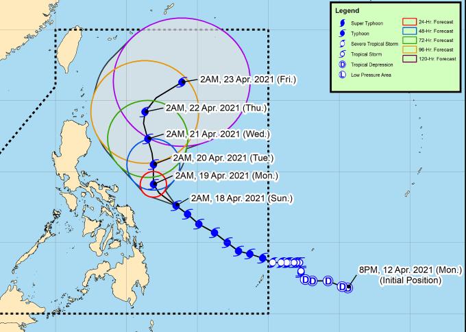 Hướng di chuyển dự kiến của bão Surigae trong những ngày tới. Đồ họa: PASAGA.