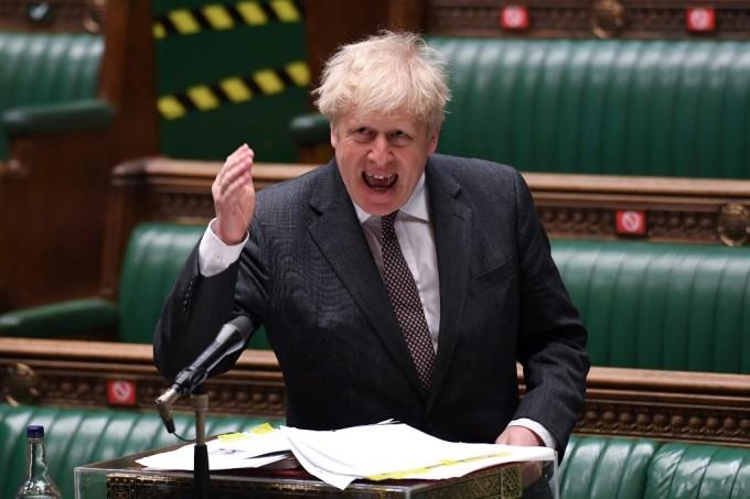 Thủ tướng Anh Boris Johnson trả lời chất vấn quốc hội hôm 21/4 tại London, Anh. Ảnh: AFP