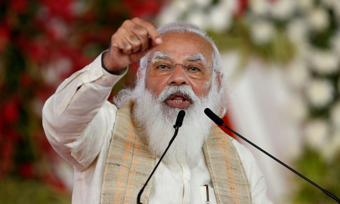 Thủ tướng Ấn Độ Narendra Modi phát biểu tại thủ đô New Delhi hồi tháng 11/2019. Ảnh: Reuters.