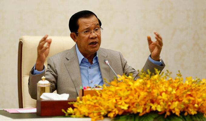 Thủ tướng Campuchia Hun Sen phát biểu ở Phnom Penh hồi tháng 1/2020. Ảnh: KT/Siv Channa.