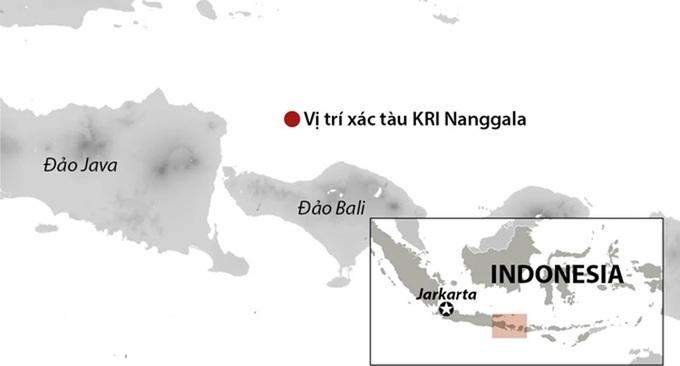 Vị trí xác tàu ngầm KRI Nanggala. Đồ họa: Nikkei.