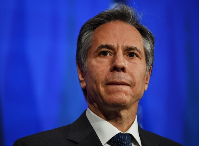 Ngoại trưởng Mỹ Antony Blinken dự cuộc họp báo với Ngoại trưởng Anh Dominic Raab sau cuộc họp song phương bên lề hội nghị G7 ở London hôm 3/5. Ảnh: AFP.