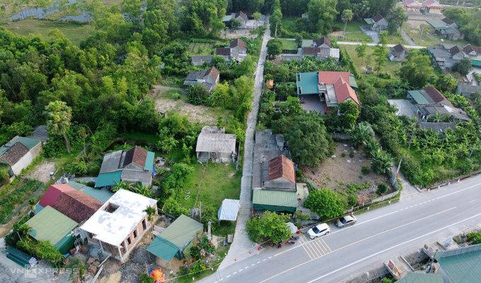 Một góc của thôn Việt Yên, xã Việt Tiến, huyện Thạch Hà, nơi đang phong tỏa. Ảnh: Đức Hùng