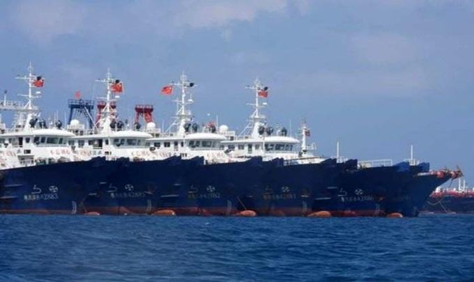 Đội tàu cá Trung Quốc neo đậu tại bãi Ba Đầu trong lãnh hải đảo Sinh Tồn Đông thuộc quần đảo Trường Sa của Việt Nam hồi tháng 3. Ảnh: AP.