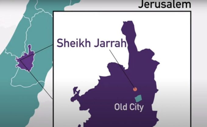 Khu Sheikh Jarrah nằm ở phía bắc Thành Cổ Jerusalem. Đồ họa: Tweetasm.