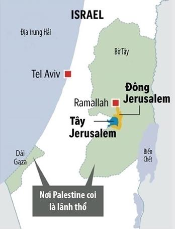 Vị trí của Jerusalem. Đồ họa: Straits Times.