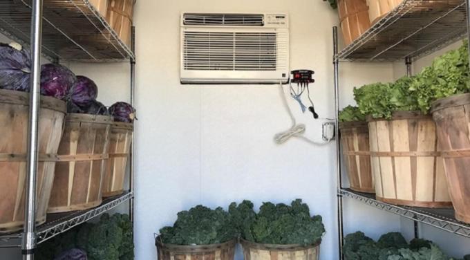 Thiết bị Coolbot nhỏ gọn được đấu nối với điều hòa trong kho lạnh dự trữ rau củ. Ảnh: NVCC.