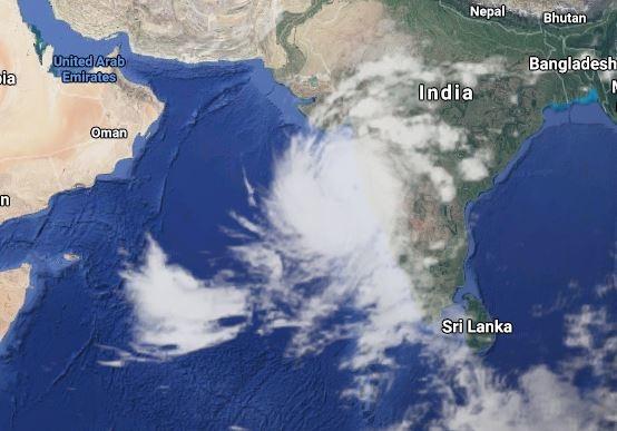 Ảnh mây bão Tauktae ngoài khơi Ấn Độ. Ảnh: Google Maps.
