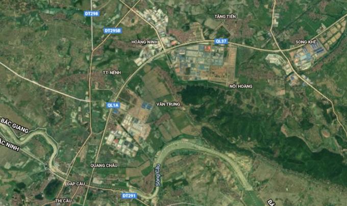 Khu công nghiệp Quang Châu và Vân Trung hai ổ dịch lớn nhất tỉnh Bắc Giang nằm gần nhau, trên tuyến cao tốc Hà Nội-Bắc Giang.