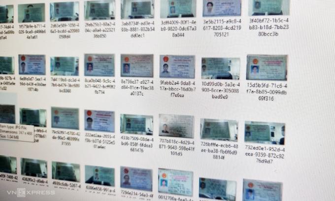 Một phần trong số các ảnh chụp chứng minh thư và căn cước công dân của người Việt đang bị rao bán.