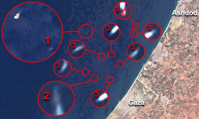 Vị trí tàu Saar 5 và giàn khoan (số 1), tàu Saar 4.5 (số 2) và các tàu Super Dvora (số 3) hôm 15/5. Ảnh: Twitter/OSINT-1.