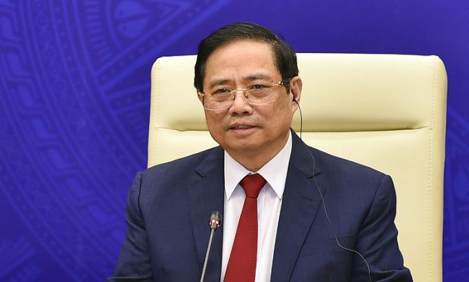 Thủ tướng Phạm Minh Chính phát biểu tại hội nghị hôm 20/5. Ảnh: Báo Chính phủ.