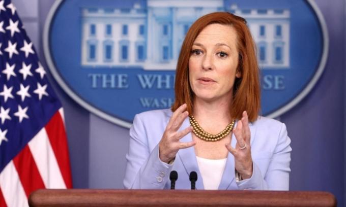 Thư ký Báo chí Nhà Trắng Jen Psaki trong cuộc họp báo ở Washington hôm 21/5. Ảnh: AFP.