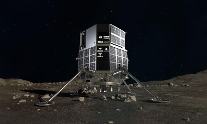 Mô phỏng trạm đổ bộ HAKUTO-R đáp xuống Mặt Trăng. Ảnh: iSpace.