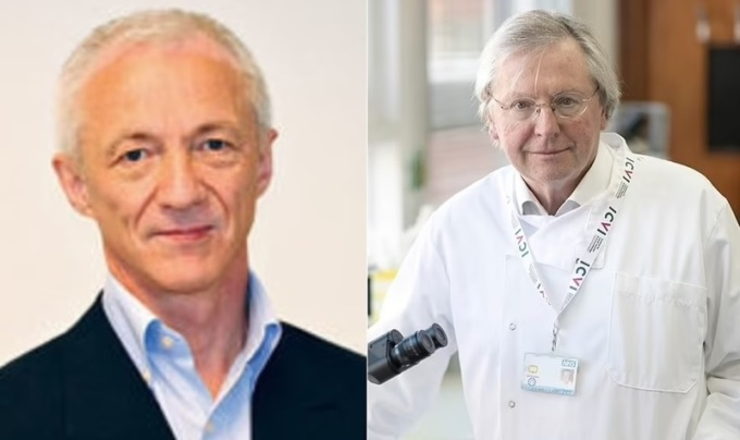 Nhà khoa học Na Uy, tiến sĩ Birger Sørensen (trái), và giáo sư người Anh Angus Dalgleish. Ảnh: Minervanett.