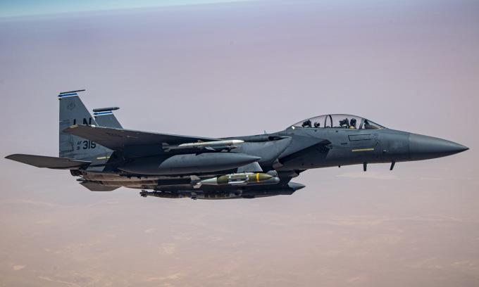 Tiêm kích F-15E Mỹ làm nhiệm vụ tại Iraq năm 2020. Ảnh: USAF.
