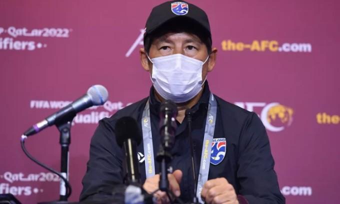 Nishino trong buổi họp báo trước trận Thái Lan gặp Indonesia. Ảnh: Siam.