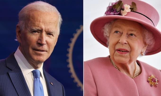 Tổng thống Mỹ Joe Biden và Nữ hoàng Anh Elizabeth. Ảnh: AP.