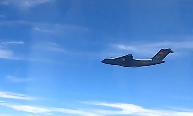 Vận tải cơ Y-20 hoạt động gần không phận Malaysia ngày 31/5. Ảnh: RMAF.