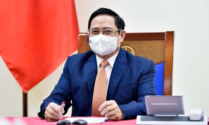 Thủ tướng Phạm Minh Chính trong cuộc điện đàm ngày 25/5. Ảnh: Bộ Ngoại giao.