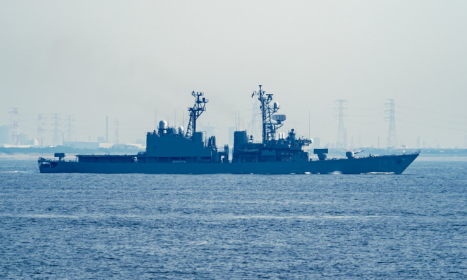 JS Yuugiri ra biển huấn luyện năm 2020. Ảnh: Twitter/Takao_19320531