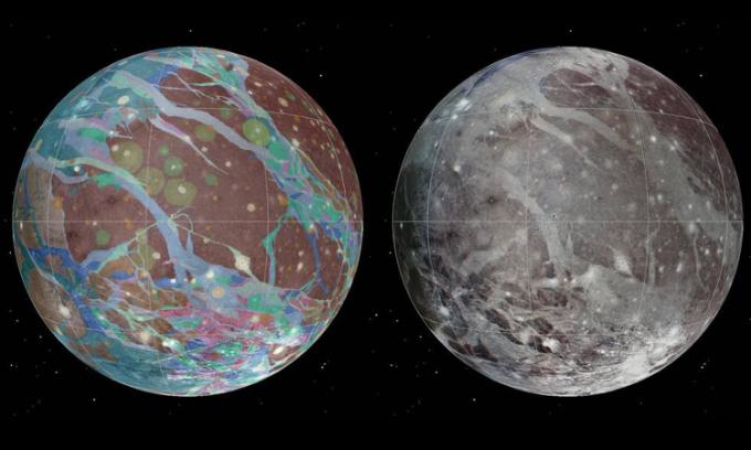 Bản đồ tổng hợp màu (trái) và địa chất (phải) của mặt trăng Ganymede, lập bằng ảnh từ các tàu vũ trụ Voyager và Galileo. Ảnh: Trung tâm Khoa học Địa chất học hành tinh USGS/Wheaton/NASA/JPL-Caltech.