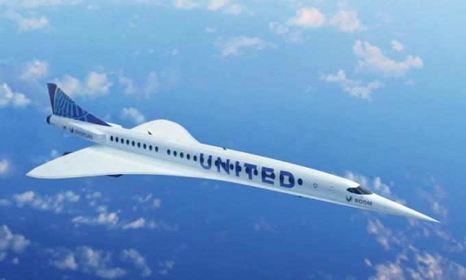 Máy bay siêu thanh Overture có thể gia nhập đội máy bay của hãng United Airlines. Ảnh: Boom Supersonic.