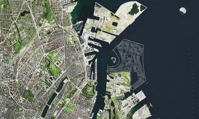 Đảo nhân tạo nhìn từ trên cao trong ảnh dựng bằng máy tính. Ánh: Chính phủ Đan Mạch.