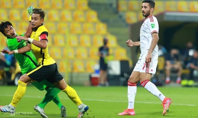 Ali Mabkhout lập cú đúp trong trận UAE thắng Malaysia 4-0 hôm 3/6. Ảnh: Lâm Thoả
