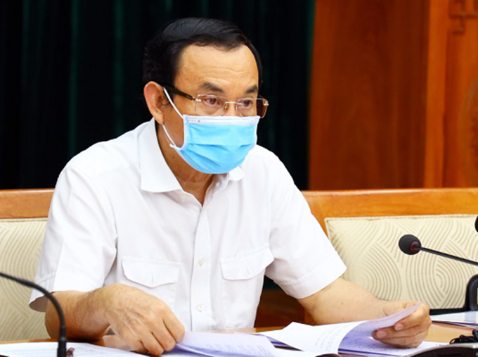 Bí thư Thành uỷ Nguyễn Văn Nên tại cuộc họp Ban chỉ đạo chống dịch TP HCM. Ảnh: Trung tâm báo chí.