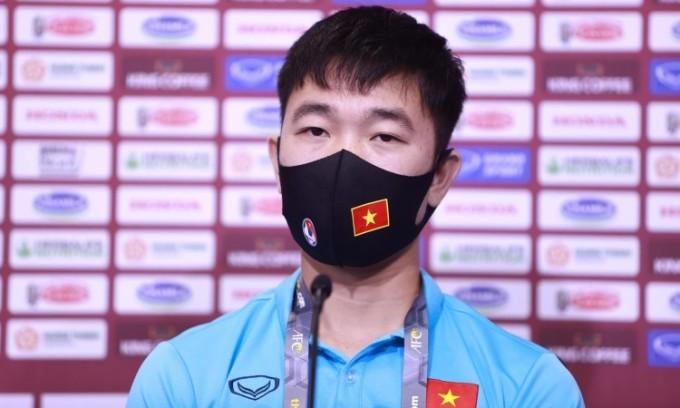 Xuân Trường trong buổi họp báo trước trận gặp Malaysia tối 10/6. Ảnh: Lâm Thỏa.
