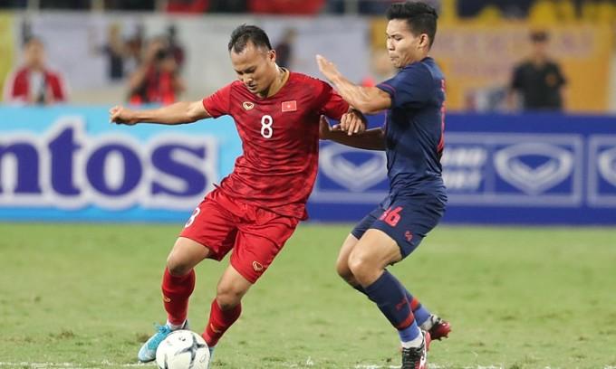 Trọng Hoàng trong trận đấu Thái Lan ở vòng loại World Cup vào ngày 19/11/2019. Ảnh: Đức Đồng.