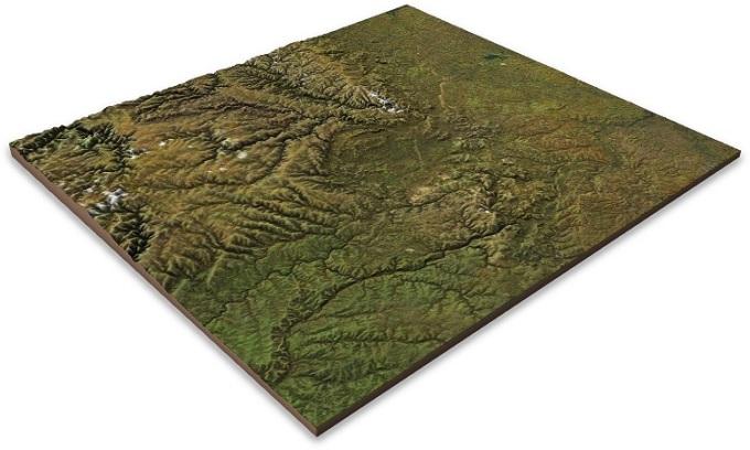 Miệng hố Popigai trong ảnh tổng hợp từ dữ liệu vệ tinh. Ảnh: Đài quan sát Trái Đất.