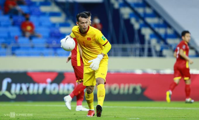 Bùi Tấn Trường chơi tập trung trong trận Việt Nam thắng Indonesia 4-0 ngày 7/6. Ảnh: Lâm Thoả