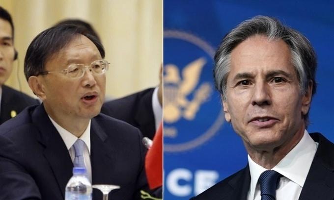 Ủy viên Quốc vụ viện Trung Quốc Dương Khiết Trì (trái) và Ngoại trưởng Mỹ Antony Blinken. Ảnh: AP.