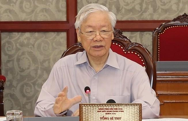Tổng bí thư Nguyễn Phú Trọng phát biểu tại phiên họp của Bộ Chính trị ngày 11/6. Ảnh: TTX