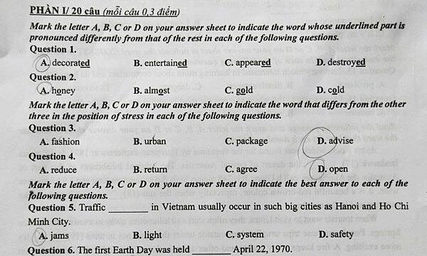 Đề Tiếng Anh vào lớp 10 công lập Hà Nội