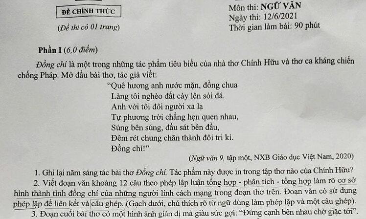 Bài thơ 'Đồng chí' vào đề Văn lớp 10 công lập Hà Nội