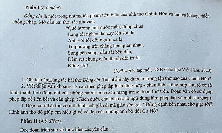 Gợi ý làm bài môn Ngữ văn thi vào lớp 10 ở Hà Nội