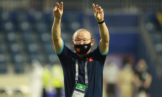Thầy trò Park có cơ hội phá kỷ lục thứ bậc FIFA của Việt Nam nếu thắng UAE, ở loạt trận cuối vòng loại thứ hai World Cup 2022 khu vực châu Á tối 15/6. Ảnh: Lâm Thoả