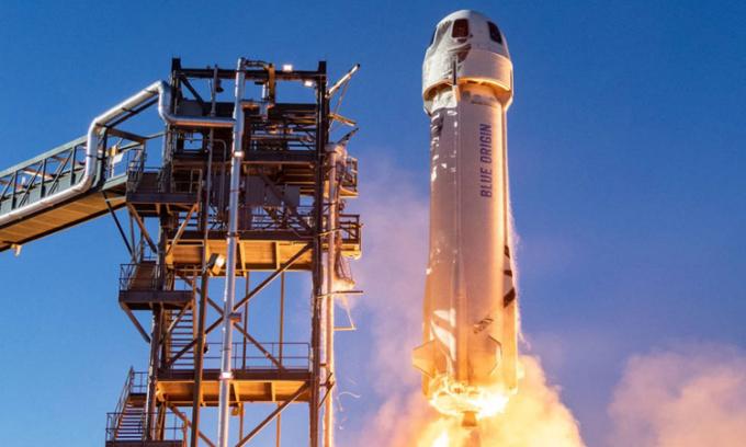 Tàu New Shepard của Blue Origin phóng thử nghiệm tại Tây Texas, Mỹ. Ảnh: Blue Origin.