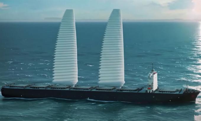 Buồm bơm hơi WISAMO giúp các tàu giảm khí thải và tiết kiệm nhiêu liệu. Ảnh: Michelin Group.
